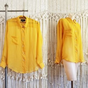 🌻 Sheer Chiffon Golden Yellow Draped Blouse 🌻
